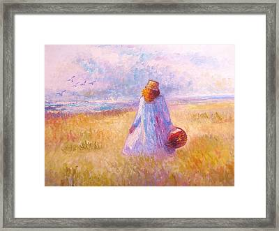 Stroll By The Sea Framed Print by Martha Sterling