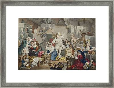 Strolling Actresses Dressing In A Barn Framed Print by William Hogarth