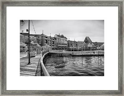 Strolling On The Boardwalk In Black And White Walt Disney World Framed Print by Thomas Woolworth