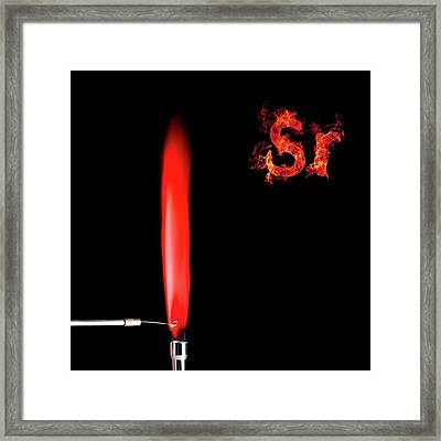Strontium Flame Test Framed Print by Science Photo Library