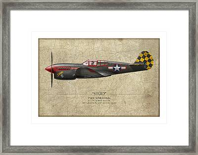 Stud P-40 Warhawk - Map Background Framed Print by Craig Tinder