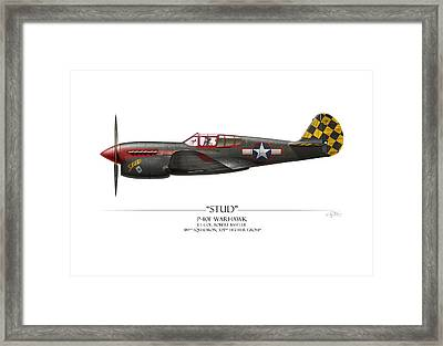 Stud P-40 Warhawk - White Background Framed Print by Craig Tinder