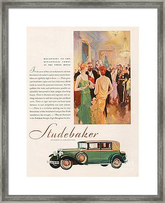 Studebaker 1929 1920s Usa Cc Cars Framed Print by The Advertising Archives