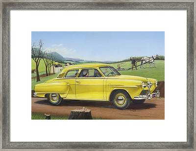 Studebaker Champion Antique Americana Nostagic Rustic Rural Farm Country Auto Car Painting Framed Print by Walt Curlee