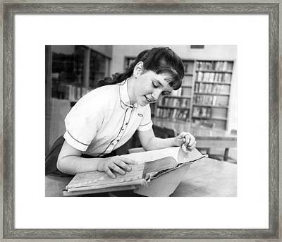 Student Using Dictionary Framed Print by Underwood Archives