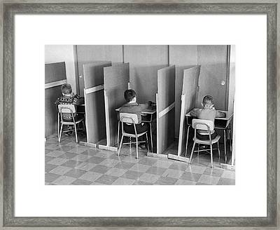 Students In Cubicles Framed Print by Underwood Archives