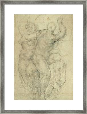 Study For A Group Of Nudes Framed Print by Jacopo Pontormo