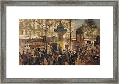 Study For A Panorama Of The Boulevard De Montmartre, 1877 Oil On Canvas Framed Print by Andre Gill