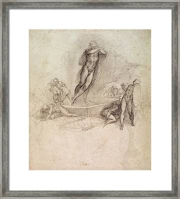 Study For An Ascension Framed Print by Michelangelo Buonarroti