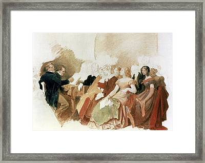 Study For An Evening At Baron Von Spauns Schubert At The Piano Among His Friends Framed Print by Moritz Ludwig von Schwind