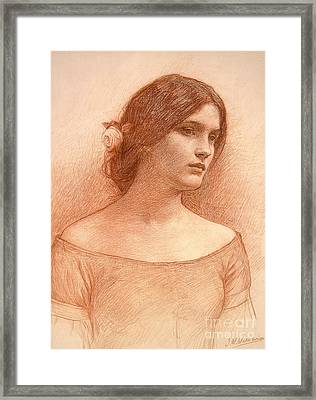 Study For The Lady Clare Framed Print by John William Waterhouse