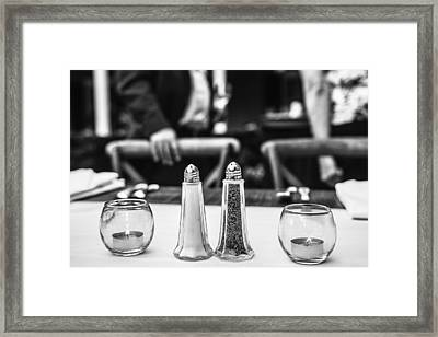 Study In Black And White..salt And Pepper Framed Print by Wendy Mogul