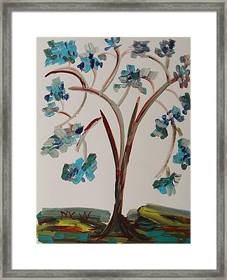 Study Of A Blue Tree Framed Print by Mary Carol Williams