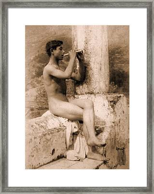 Study Of A Boy Playing A Flute Framed Print by Wilhelm von Gloeden