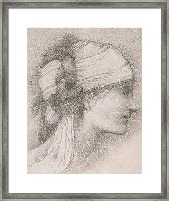 Study Of A Female Head To The Right Framed Print by Sir Edward Coley Burne-Jones