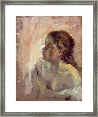 Study Of A Girls Head, Late 1870s Framed Print by Edgar Degas