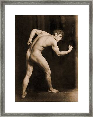 Study Of A Male Nude Framed Print by Wilhelm von Gloeden