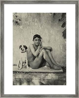 Study Of A Nude Boy With Dog Framed Print by Wilhelm von Gloeden