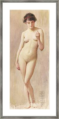 Study Of A Nude II Framed Print by Murray Bladon