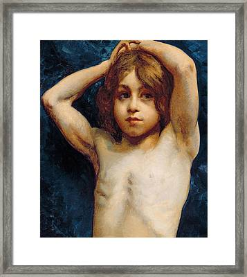 Study Of A Young Boy Framed Print by William John Wainwright
