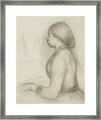 Study Of A Young Girl At The Piano Framed Print by Pierre Auguste Renoir