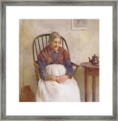 Study Of An Elderly Lady Framed Print by Frederick James McNamara Evans