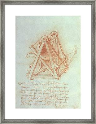 Study Of The Wooden Framework With Casting Mould For The Sforza Horse Framed Print by Leonardo da Vinci