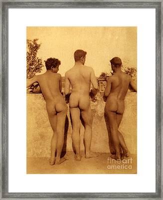 Study Of Three Male Nudes Framed Print by Wilhelm von Gloeden