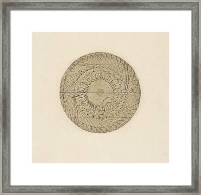 Study Of Water Wheel From Atlantic Codex  Framed Print by Leonardo Da Vinci