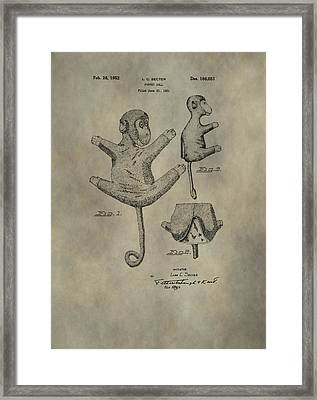 Stuffed Monkey Patent Framed Print by Dan Sproul