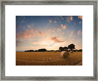 Stunning Summer Landscape Of Hay Bales In Field At Sunset Digital Painting Framed Print by Matthew Gibson