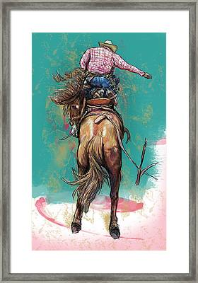 Stylised Cow Boy Modern Drawing Art Sketch Framed Print by Kim Wang