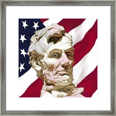 Stylised Modern Drawing Art Sketch - President Lincoin With America Flag Framed Print by Kim Wang