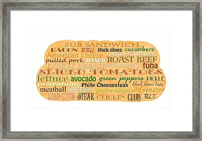 Sub Sandwich Typography Framed Print by Andee Design