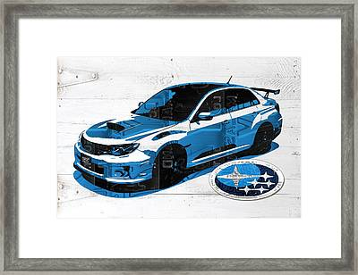 Subaru Impreza Wrx Recycled License Plate Art On White Barn Door Framed Print by Design Turnpike