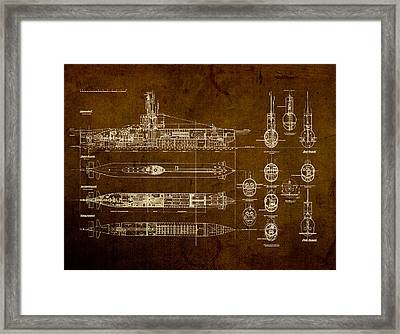 Submarine Blueprint Vintage On Distressed Worn Parchment Framed Print by Design Turnpike