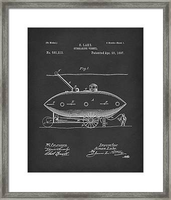 Submarine By Lake 1897 Patent Art Black Framed Print by Prior Art Design