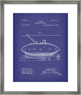 Submarine By Lake 1897 Patent Art Blue Framed Print by Prior Art Design