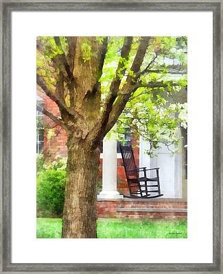 Suburbs - Rocking Chair On Porch Framed Print by Susan Savad