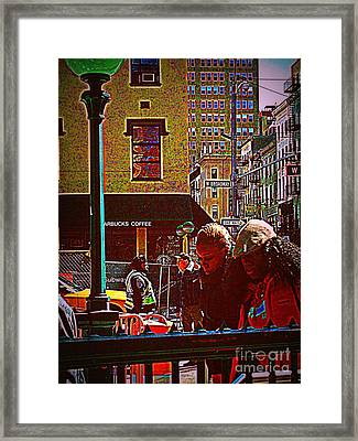 Subway - Late Afternoon Rush On A Cold Day Framed Print by Miriam Danar