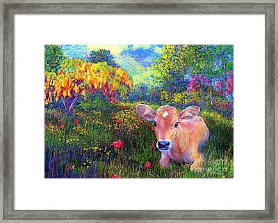 Chains Framed Print featuring the painting Such A Contented Cow by Jane Small