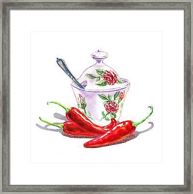 Sugar Bowl With Chili Peppers Framed Print by Irina Sztukowski