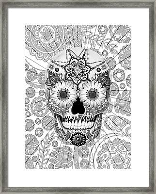 Sugar Skull Bleached Bones - Copyrighted Framed Print by Christopher Beikmann