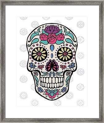 Sugar Skull IIi On Gray Framed Print by Janelle Penner