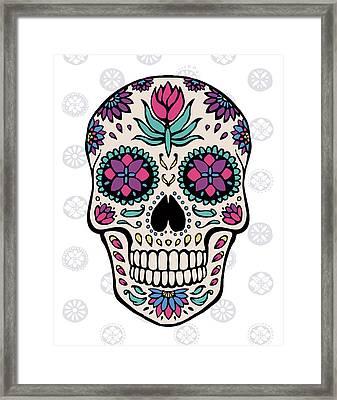 Sugar Skull Iv On Gray Framed Print by Janelle Penner