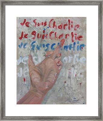 Je Suis Charlie Finger Painting To Al Qaeda Framed Print by Michael Dillon