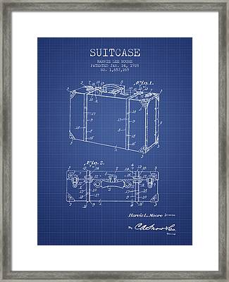 Suitcase Patent From 1928 - Blueprint Framed Print by Aged Pixel