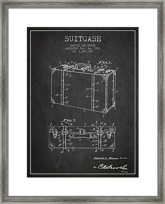 Suitcase Patent From 1928 - Dark Framed Print by Aged Pixel