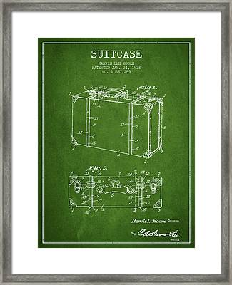 Suitcase Patent From 1928 - Green Framed Print by Aged Pixel