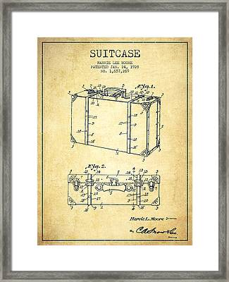 Suitcase Patent From 1928 - Vintage Framed Print by Aged Pixel